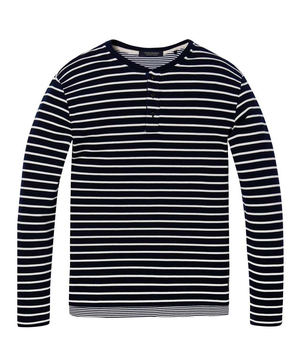 Longsleeve Fake Layer T-Shirt / ネイビーボーダー [292-63408]
