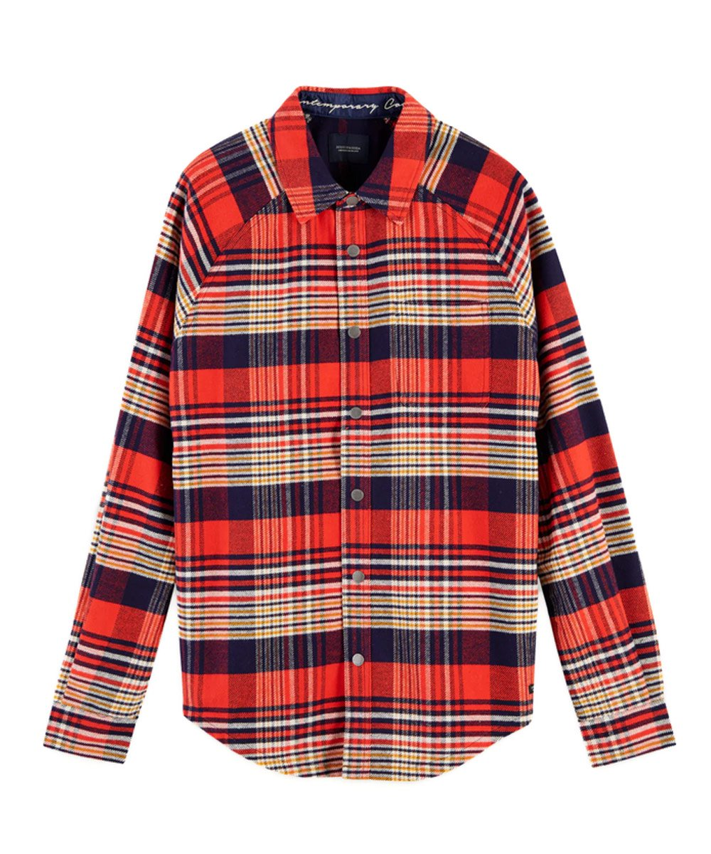 Mixed Print Flannel Overshirt Regular fit / レッドチェック [282-11408]