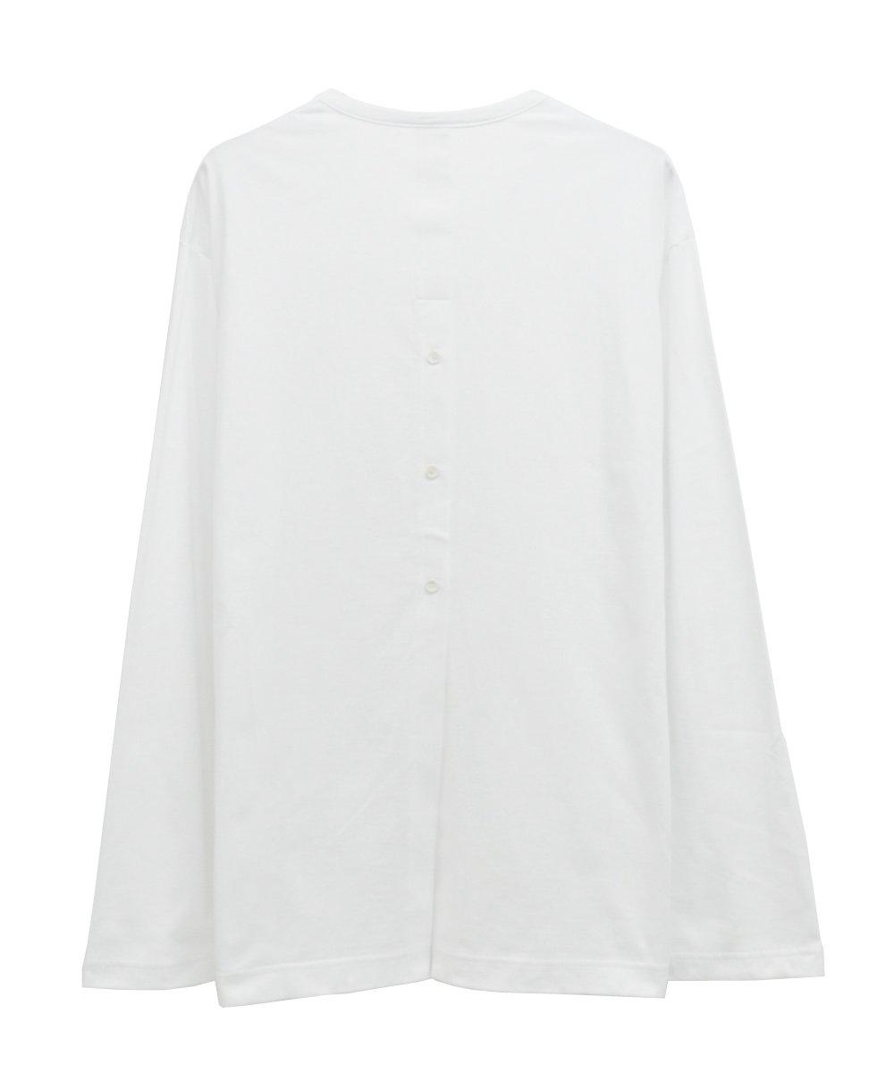 BACK SLIT L/S TEE / ホワイト [GN-T13-040-1-03]
