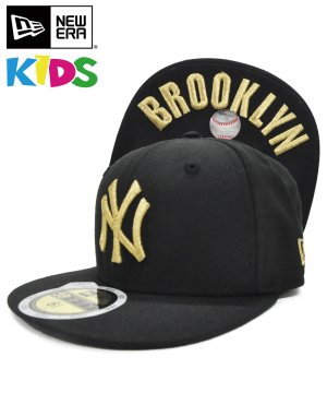 <img class='new_mark_img1' src='https://img.shop-pro.jp/img/new/icons61.gif' style='border:none;display:inline;margin:0px;padding:0px;width:auto;' />[OUTLET] Kid's 59FIFTY UNDERVISOR ニューヨーク・ヤンキース / ブラック × ゴールド BROOKLYN [N0006316]
