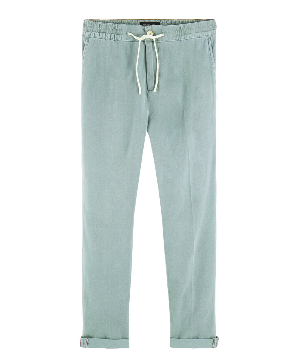 Warren - Cotton-Linen Trousers Regular straight fit / エメラルド [292-11517]
