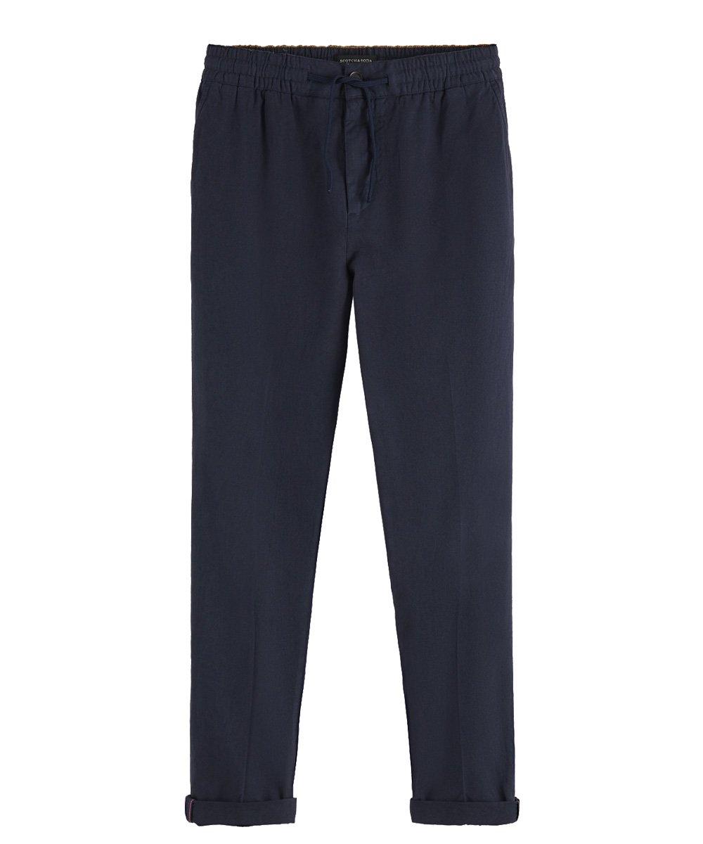 Warren - Cotton-Linen Trousers Regular straight fit / ネイビー [292-11517]