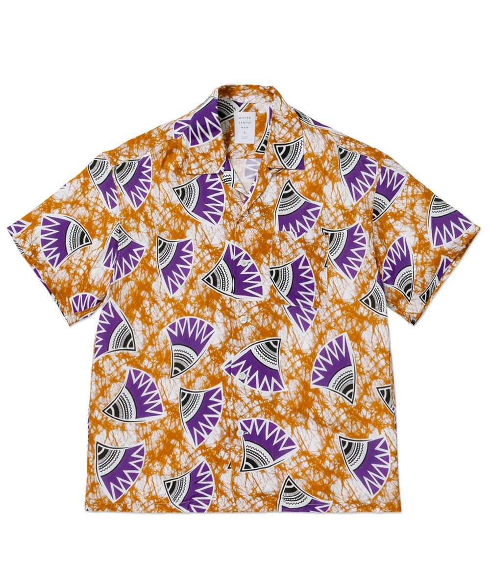 AFRICAN PATTERN CAMP COLLAR S/S SHIRT / オレンジ [MGQ-SSH15]