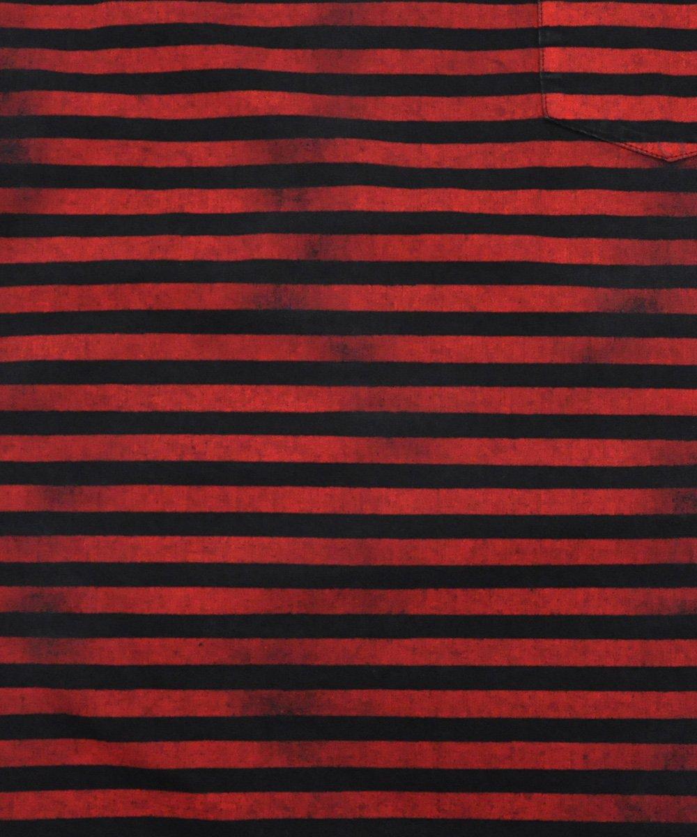 HAZY BORDER S/S DENIM T-SH / レッド×ブラック(RPT) [2006-4001]