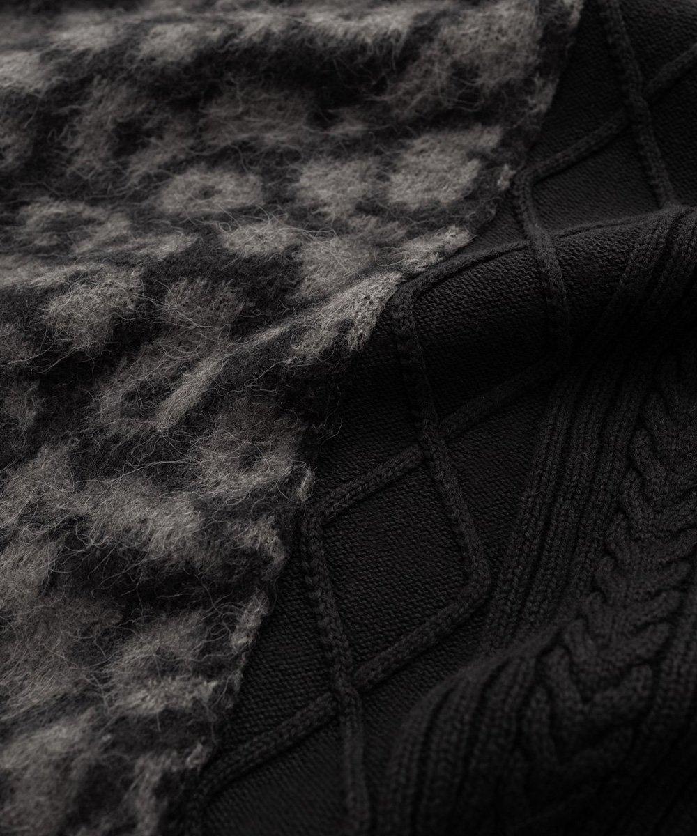 CHEETAH BLOCKED SWEATER / ブラック [SLA-M2268KW]