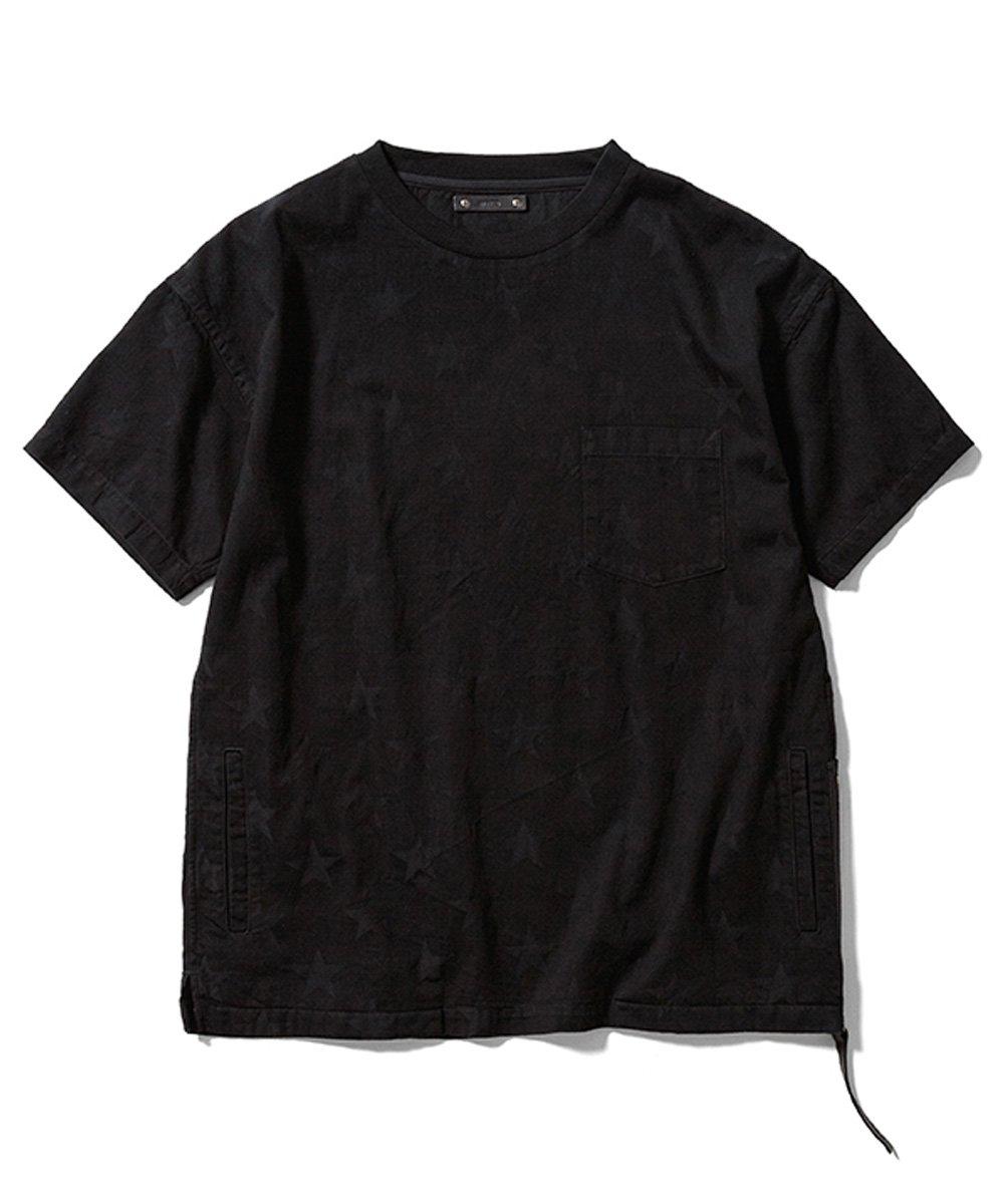 SHADOW STAR SIDE ZIP LOOSE DENIM T-SH / ブラック(BSP) [2008-4003]