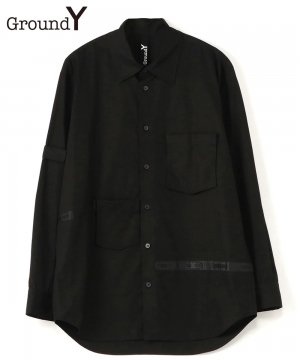 Cotton Broad Back Tape Shirt / ブラック [GR-B14-001-2-01]