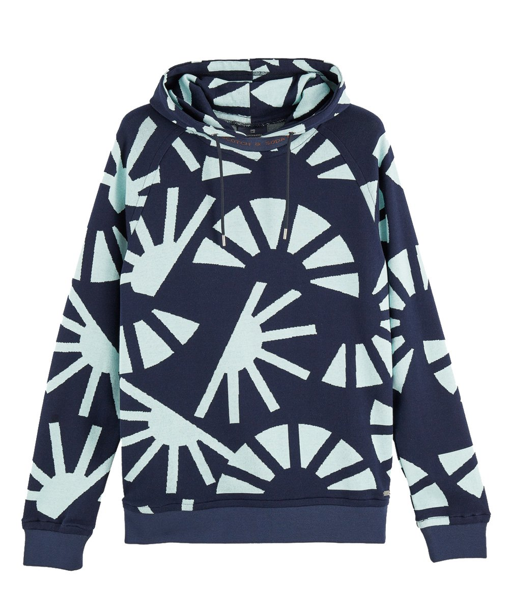 100% cotton jacquard hooded sweatshirt / ブルー [282-23811]