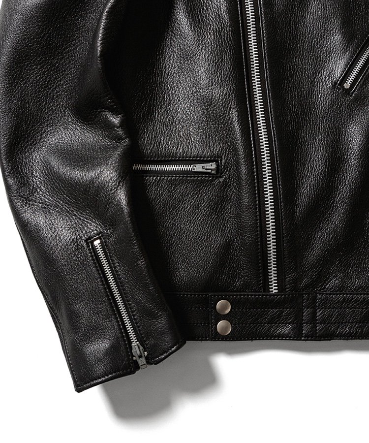 <img class='new_mark_img1' src='https://img.shop-pro.jp/img/new/icons5.gif' style='border:none;display:inline;margin:0px;padding:0px;width:auto;' />ADDICT CLOTHES×MINEDENIM Leather Riders JKT / ブラック(BLK) [AD-03MD]