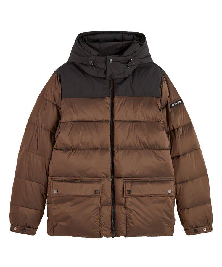 PrimaLoft mid-length hooded jacket / ブラウン [292-21110]