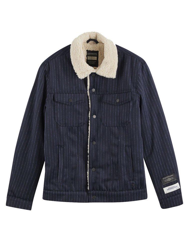 Sherpa lined wool-blend trucker jacket / ネイビー [292-21804]