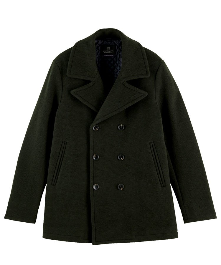Classic double-breasted peacoat / ダークグリーン [292-21101]