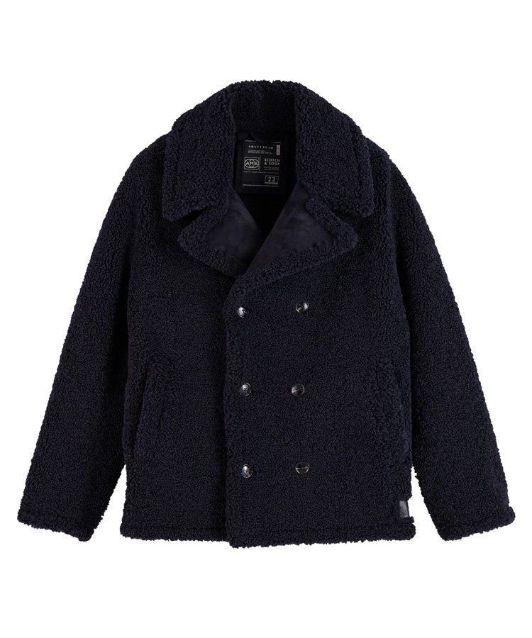<img class='new_mark_img1' src='https://img.shop-pro.jp/img/new/icons5.gif' style='border:none;display:inline;margin:0px;padding:0px;width:auto;' />Chic shearling-effect peacoat / ネイビー [292-21116]