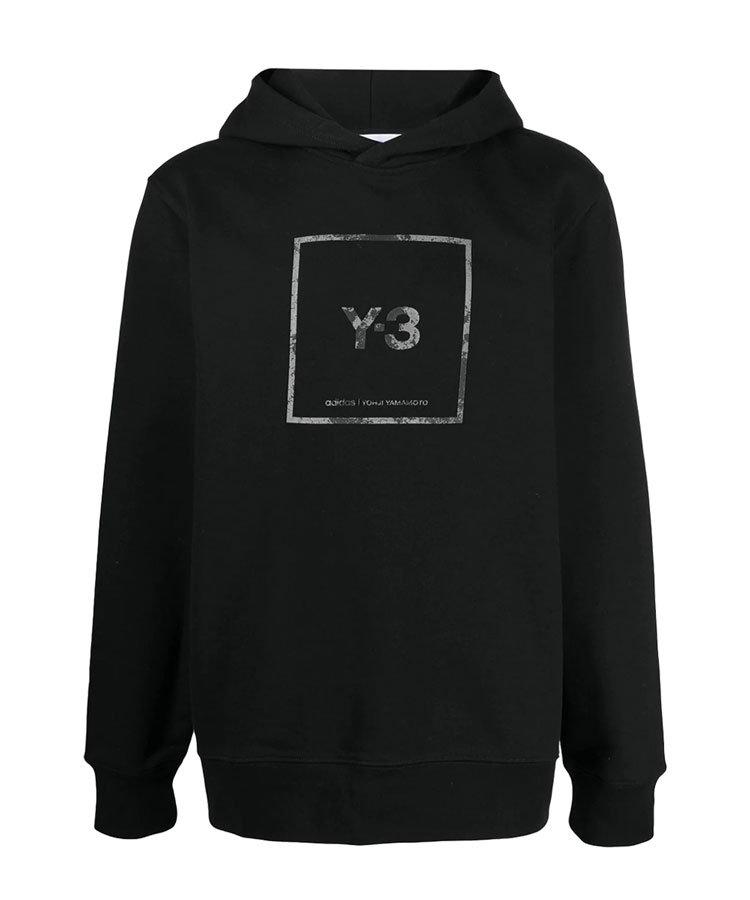 Y-3 SQUARE LABEL GRAPHIC HOODIE / ブラック [GV6056]