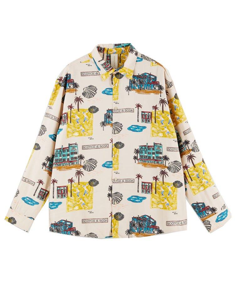 Printed seasonal fit twill shirt / ベージュ [292-31416]