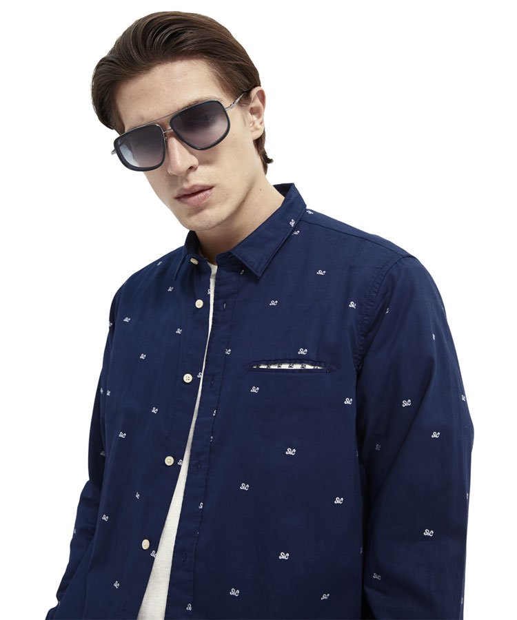Regular fit cotton shirt / ネイビー [292-31421]
