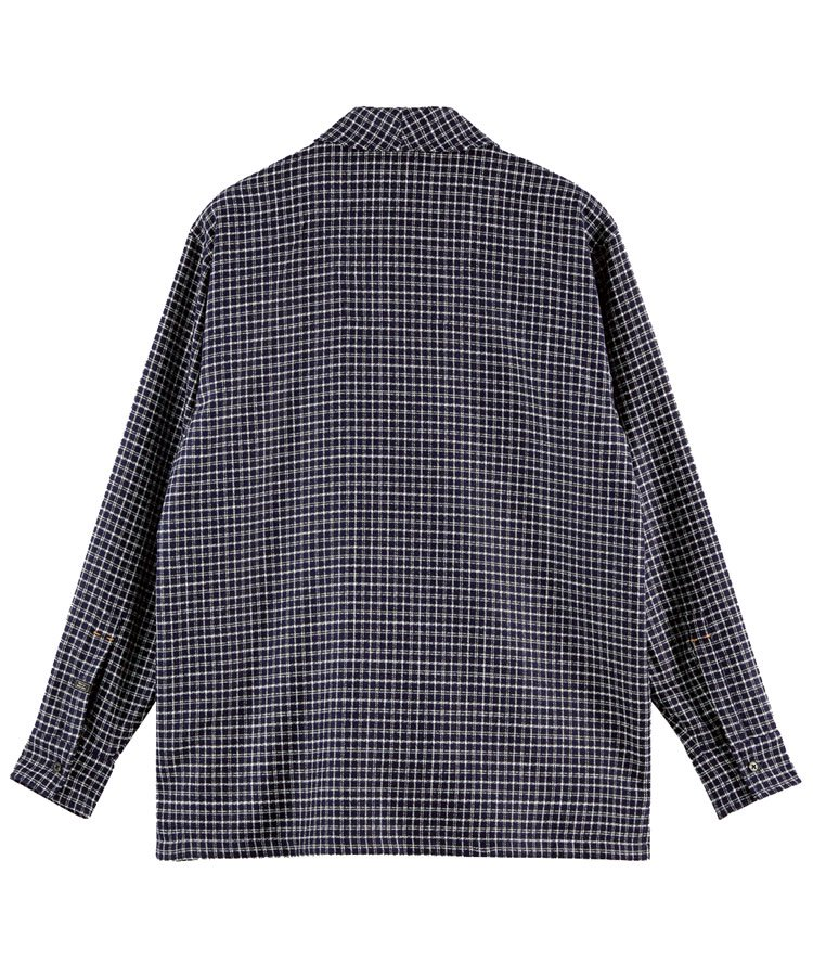 Wool-blend shawl collar over shirt / ネイビー [292-31418]