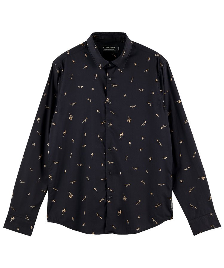 Printed regular fit organic cotton shirt / ブラック [292-31412]