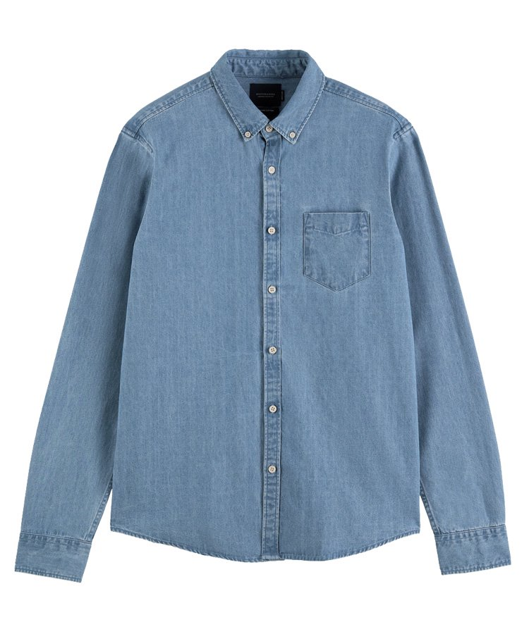Chest pocket organic cotton shirt / インディゴ [292-31400]