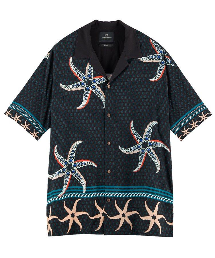 ECOVERO printed oversized Hawaiian shirt / ブラック [292-32411]