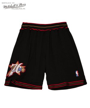 <img class='new_mark_img1' src='https://img.shop-pro.jp/img/new/icons5.gif' style='border:none;display:inline;margin:0px;padding:0px;width:auto;' />Authentic Shorts : Philadelphia 76ers Road 1997-98 / ブラック [ASHRGS18129-P76BLCK97]