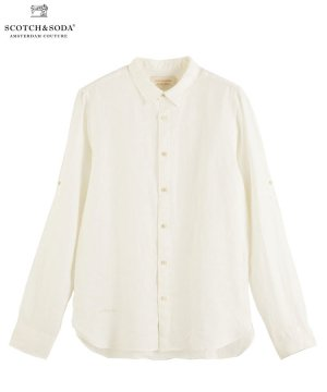 Garment-dyed linen shirt / デニムホワイト [292-31413]