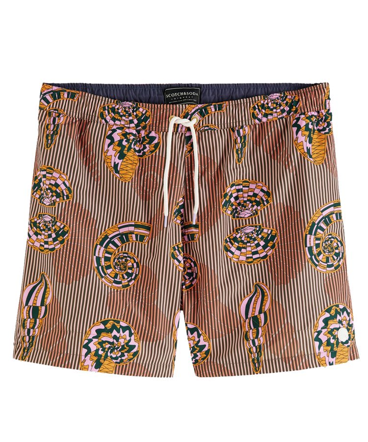 Printed recycled polyester swim shorts / ブラウン [292-38600]