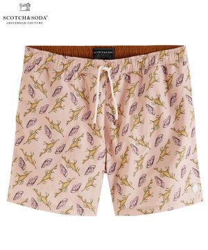 Printed recycled polyester swim shorts / ピンク [292-38600]