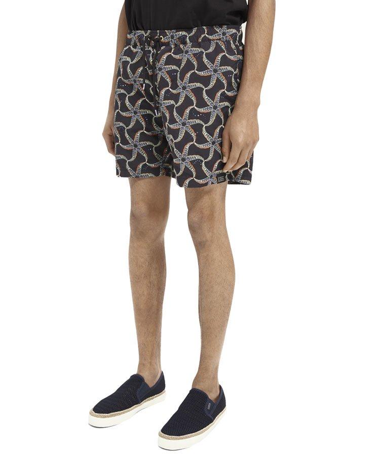 Printed recycled nylon swim shorts / ブラック [292-38601]