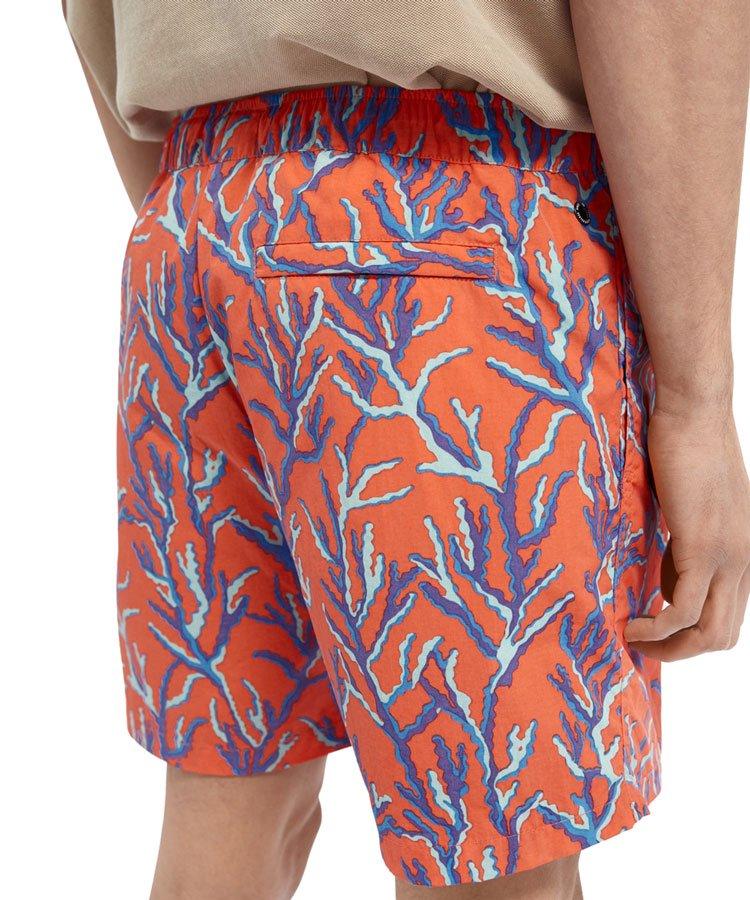 Printed recycled nylon swim shorts / オレンジ [292-38601]