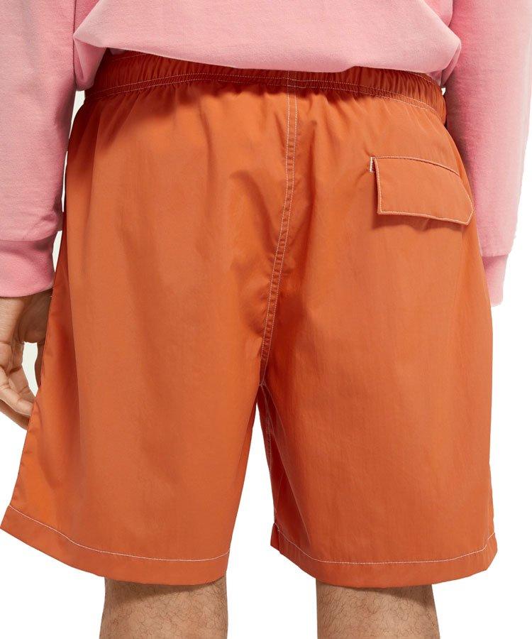 Mid-length recycled nylon swim shorts / オレンジ [292-38602]