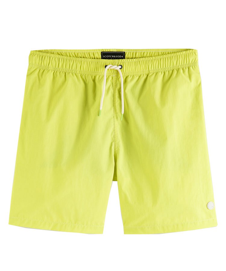 Mid-length recycled nylon swim shorts / イエロー [292-38602]