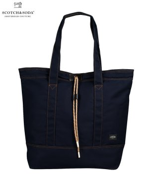 Leather-trimmed canvas bag / ナイト [282-49101]