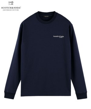 <img class='new_mark_img1' src='https://img.shop-pro.jp/img/new/icons5.gif' style='border:none;display:inline;margin:0px;padding:0px;width:auto;' />Printed long-sleeved organic cotton T-shirt / ネイビー [282-43400]