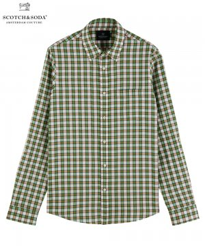 <img class='new_mark_img1' src='https://img.shop-pro.jp/img/new/icons5.gif' style='border:none;display:inline;margin:0px;padding:0px;width:auto;' />Yarn-dyed cotton shirt / グリーン×ホワイト [282-41409]