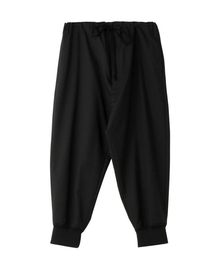 T/W Gabardine Waist String Rib Pants / ブラック [GM-P19-100-1-03]