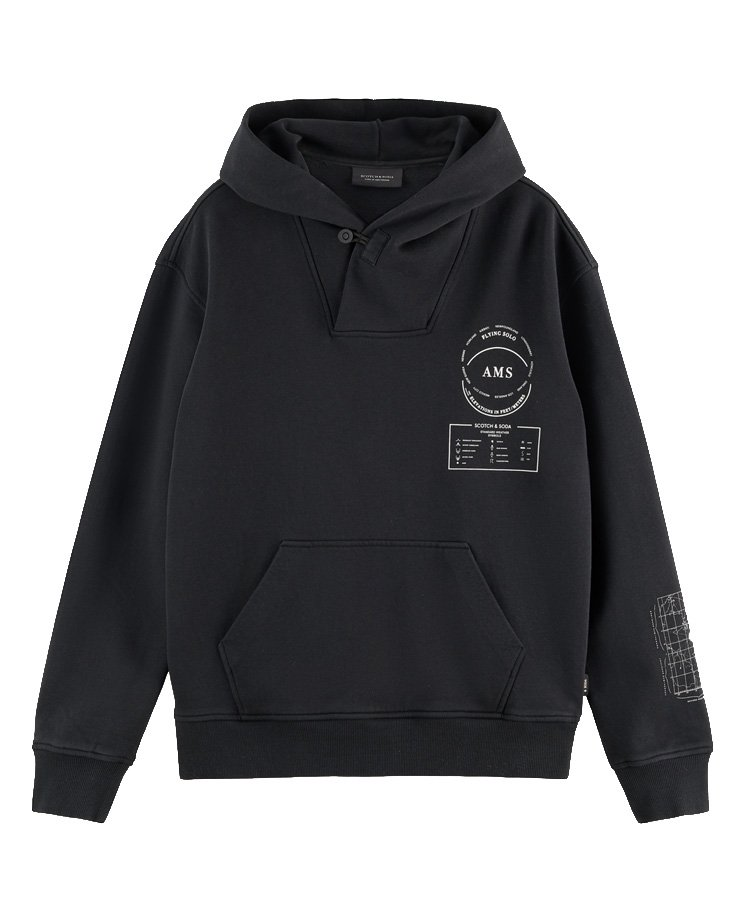 <img class='new_mark_img1' src='https://img.shop-pro.jp/img/new/icons5.gif' style='border:none;display:inline;margin:0px;padding:0px;width:auto;' />Printed relaxed-fit hoodie / ブラック [292-43803]
