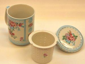 花柄マグカップ 水色