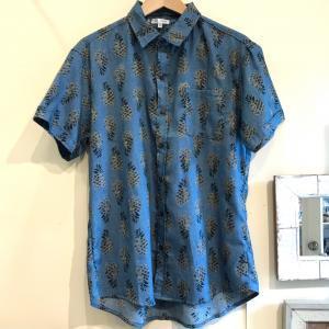 MOANALUオリジナルALOHAシャツ【パイナップル】ブルー