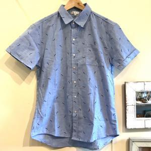 MOANALUオリジナルALOHAシャツ【カモメ】サックス