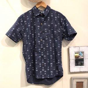 MOANALUオリジナルALOHAシャツ【小ヤシ】ネイビー