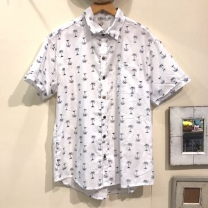 MOANALUオリジナルALOHAシャツ【小ヤシ】ホワイト