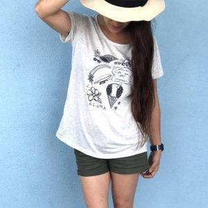 オリジナルAラインTシャツ【ハワイアンイラスト】ブルー