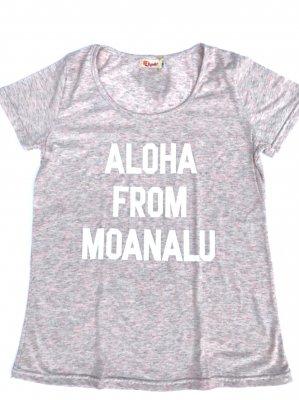 オリジナルAラインTシャツ【ALOHA FROM MOANALU】ピンク×白