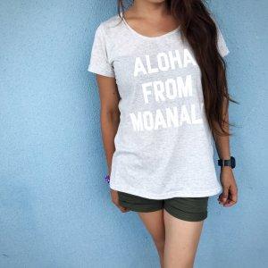 オリジナルAラインTシャツ【ALOHA FROM MOANALU】ブルー×白