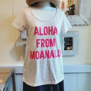 オリジナルAラインTシャツ【ALOHA FROM MOANALU】ピンク×濃ピンク