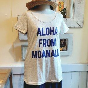 オリジナルAラインTシャツ【ALOHA FROM MOANALU】ブルー×濃ブルー