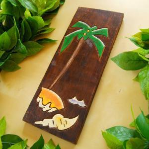 木製壁掛け【ヤシ柄】/ハワイ・ハンドメイド