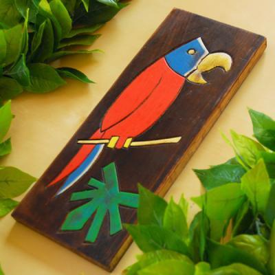 木製壁掛け【バード柄・赤】/ハワイ・ハンドメイド