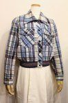70'S CHECK COTTON FLANNEL SHORY JACKET (WHT/BLE/NVY)